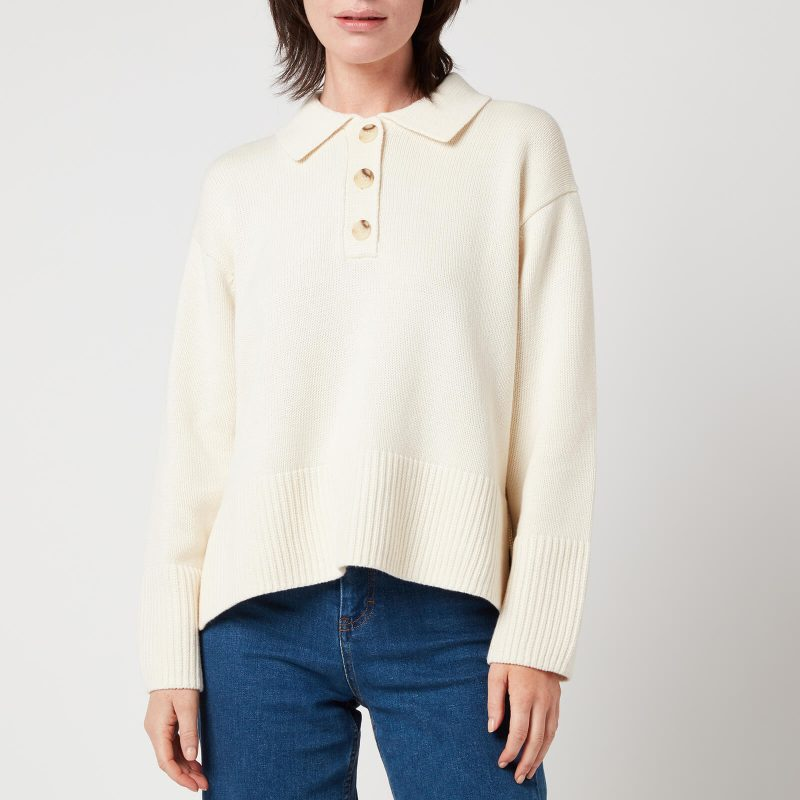 Whistles Women's Button Front Polo Knit - Ivory - M